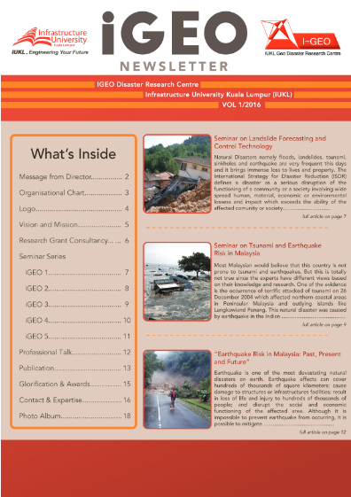 IGEO Newsletter, VOL 1/2016