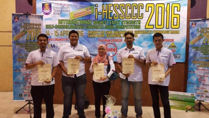 5TH BEST PRESENTATION AWARD @ International Highest Early Strength Self-Consolidating Concrete Cube Competition (i-HESSCCC 2016)