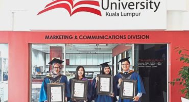 (From left) Fatin Nadhirah and Vice Chancellor's Award recipients Law, Nurul Najihah and Wong after receiving their scrolls at the 16th IUKL convocation ceremony.